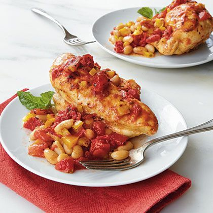 Use bone-in chicken breasts for this French-country dish.