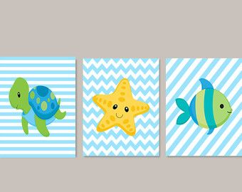Sea Animals WALL ART, Kids Bathroom Decor, Sea Life Nursery Fish Turtle  Seahorseu2026