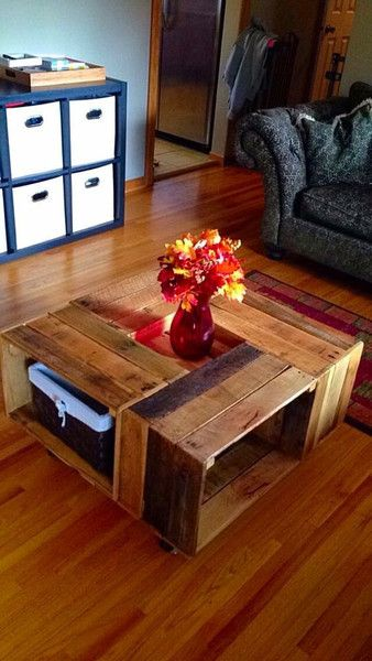 This coffee table is on wheels and is30 1/2X30 1/2X17. This item is sealed.