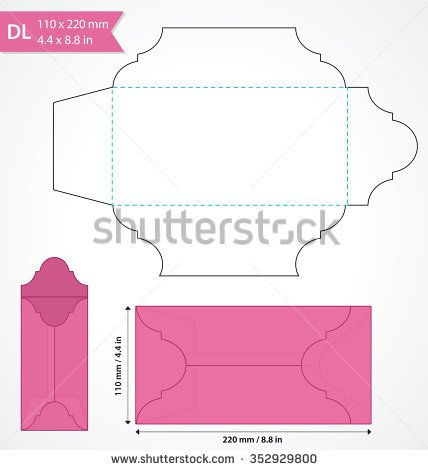 Die Cut Vector Envelope Template. Standard DL Size Envelope To Hold Folded  A4 Size Paper. Wedding Invitation ...