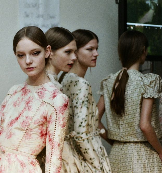 QUILTED DRESSES Nimue Smit and Kasia Struss backstage at Valentino S/S 2012