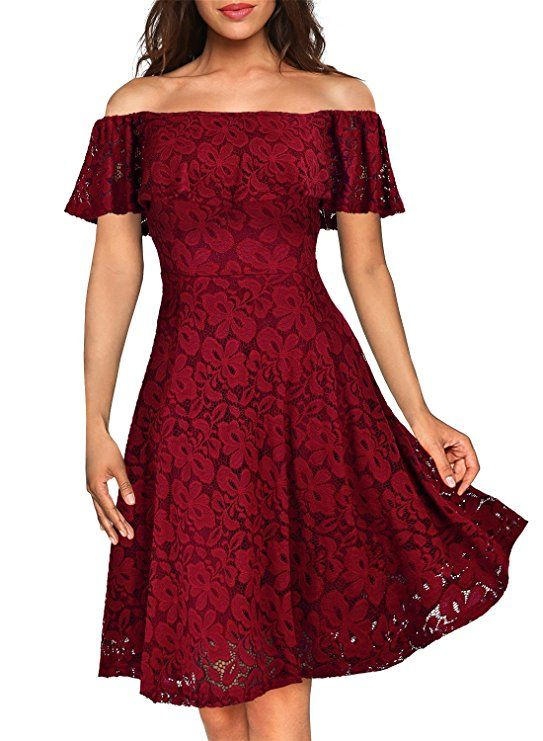76e58eb4e0 Amazon.com  MissMay Women s Vintage Floral Lace Half Sleeve Boat Neck  Cocktail Formal Swing Dress (Medium