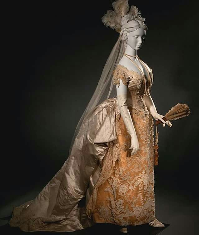 1885 wedding dress later remodeled as a formal court dress.
