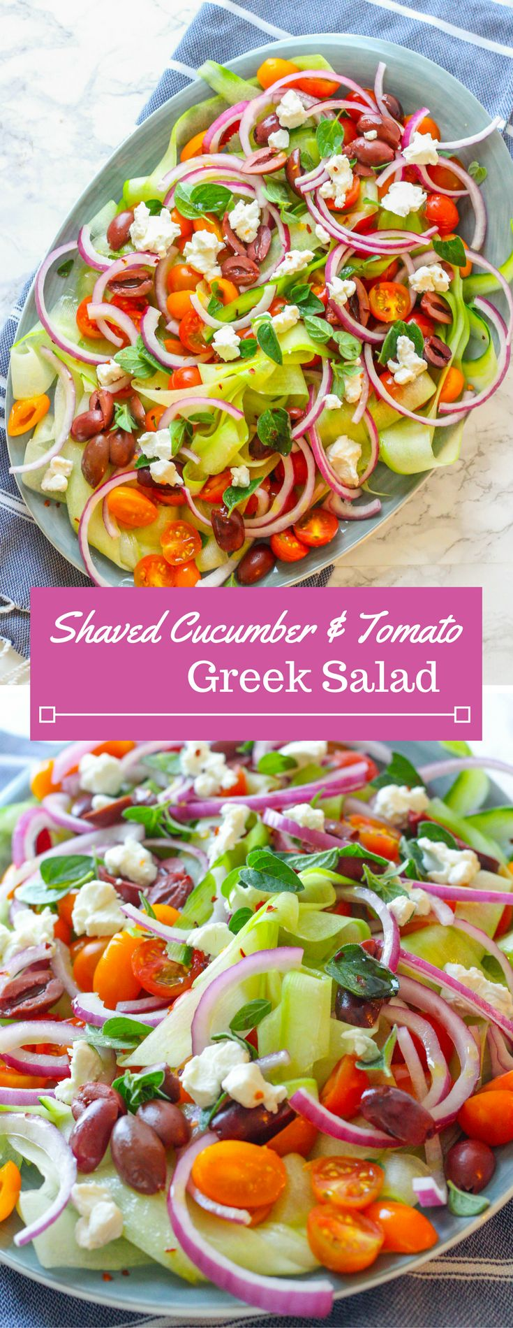 Shaved cucumber   cherry tomatoes   goat cheese   red onion   Spring Salad   Mothers Day salad   Brunch recipe   Cucumber noodles   Kalamata olives   oregano
