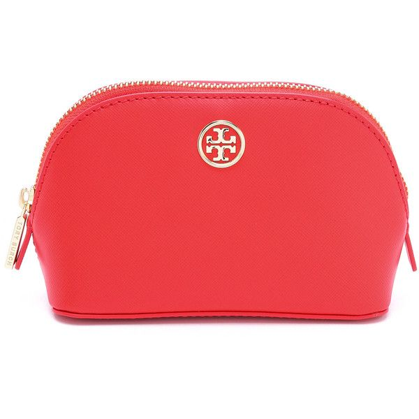 Tory Burch Robinson Small Makeup Bag - Poppy Coral found on Polyvore