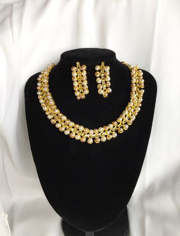 Zubeda Royal Collection Exclusive Piece Designer Bollywood Pearl Necklace and Earrings