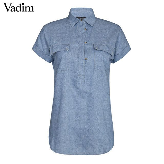 Women blue Denim long blouses Classic turn down collar short sleeve shirts Blusas Femininas European casual top solid tee