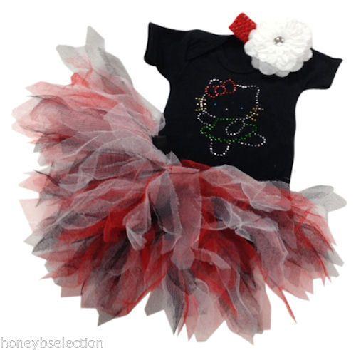 Hello Kitty Cat Sparkle Baby Grow & Tutu Set With Headband Romany Fancy Dress