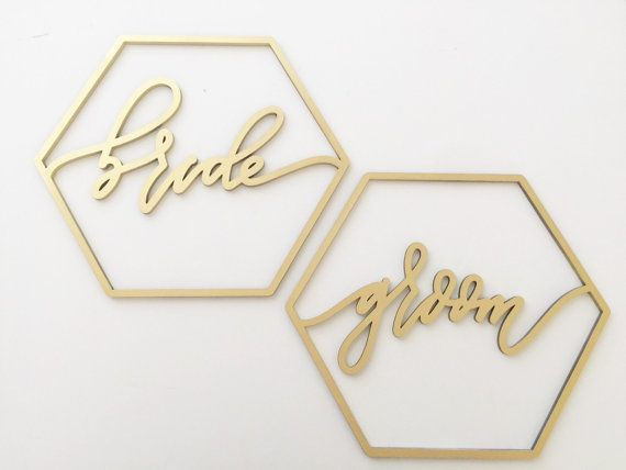 Geometric Bride + Groom Chair Backs  These are laser cut wooden bride and groom chair signs. They are sold in a pair and are hand drawn, laser cut