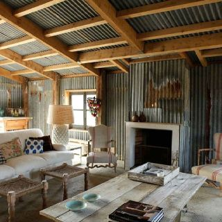 Corrugated shed interior for the boys shed