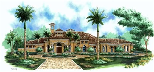 The santiago house plans are a single story mediterranean for Mediterranean house features