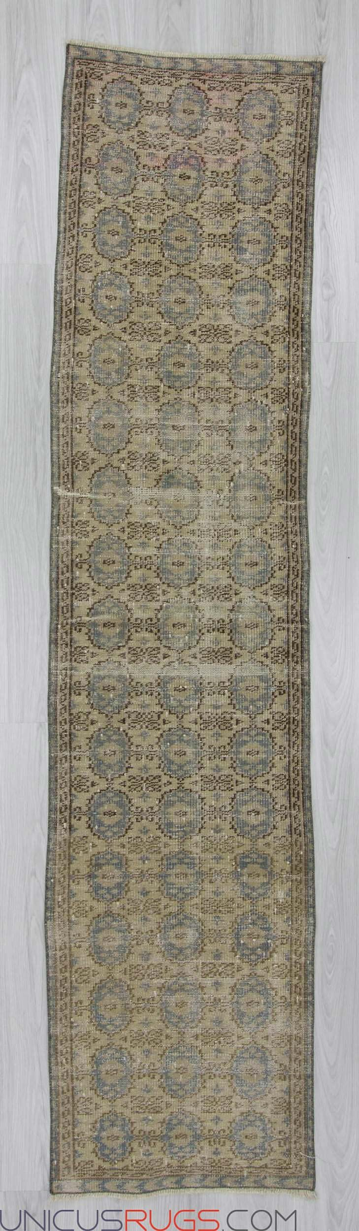 """Vintage decorative runner rug from Isparta region of Turkey. In very good condition. Approximately 40-50 years old. Width: 2' 3"""" - Length: 9' 10"""" RUNNERS"""