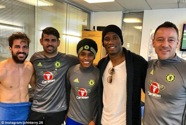 CHELSEA LEGEND DIDIER DROGBA VISITS FORMER TEAM-MATES AHEAD OF THEIR CLASH WITH HULL CITY