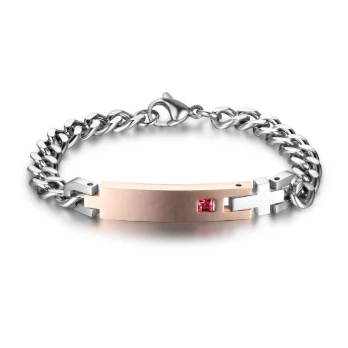 FATHERS DAY SALE! 10% off + a Gift with your purchase of AU$80 or more + postage is included to most locations Worldwide! Voucher Code NO1DAD (T&C's Apply) >>> Personalised Rose Gold & Silver Birthstone Chain Link ID Bracelet - Stainless Steel