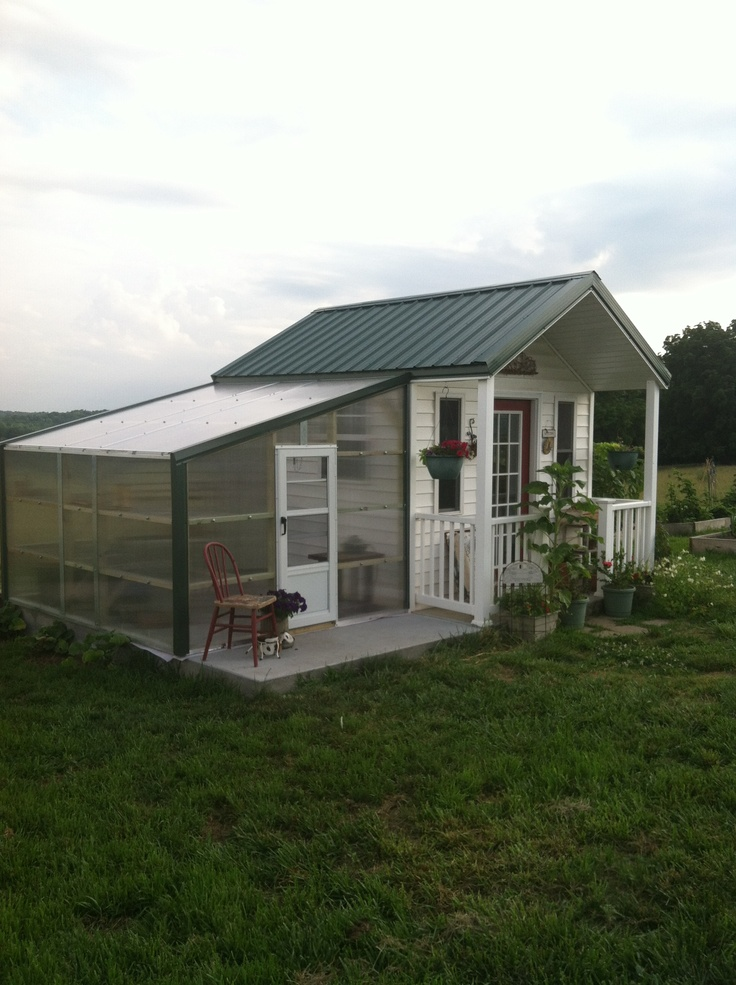 Lean to greenhouse on potting shed extends my gardening for My bhg greenhouse