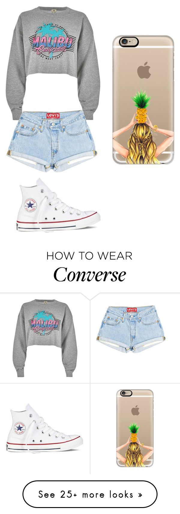 """"""""""" by mariam-dekeyrel on Polyvore featuring River Island, Converse and Casetify"""