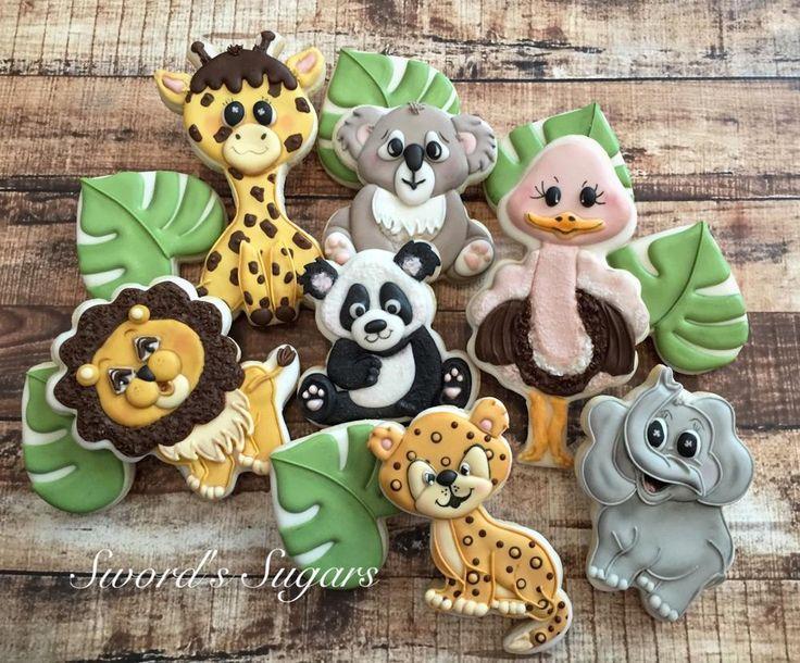 Zoo Babies Cookie Set By Delorse Jaguar Ostrich