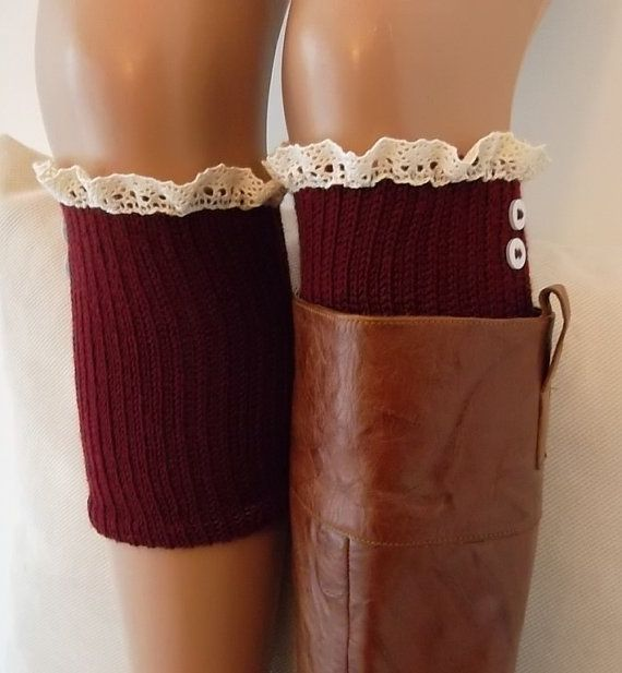 Burgundy knit boot cuffs with lace and buttons boho boot socks lace cuffs women's accessory leg warmers back to school