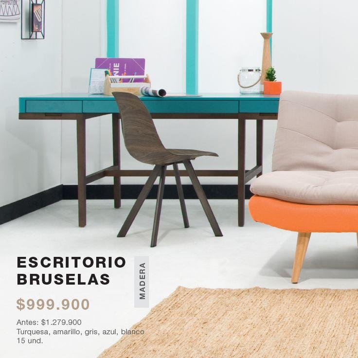 escritorio bruselas en color turquesa amarillo gris azul blanco
