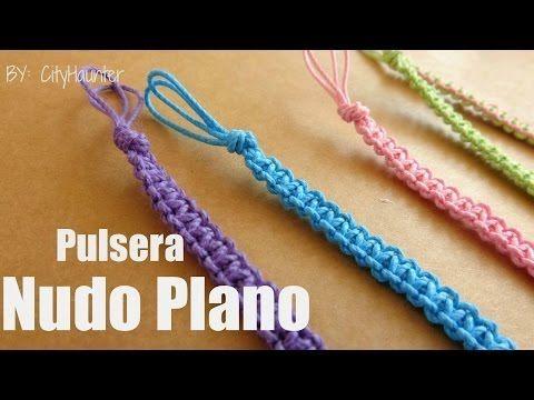 Pulsera Macrame: Nudo Plano // Pulseras de hilo - YouTube
