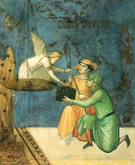 """Ambrogio Lorenzetti - La """"Giustizia commutativa"""": L'angelo consegna le unità di misura lineari (a Siena si usavano la """"canna"""" e il """"passetto"""") e di volume (lo """"staio"""" per misurare il grano e il sale) a due mercanti  (Allegoria del Buon Governo) - affresco - 1338-1339 - Siena - Palazzo Pubblico, Sala dei Nove o Sala della Pace"""