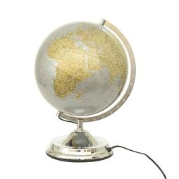"Jordglob med belysning 38cm ""Jordglobslampa"" Guld Silver"