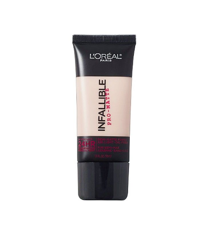 Long-lasting formula gives a demi-matte finish with flawless, buildable coverage. It's THE TOP RATED by vloggers. It also feels lightweight and breathable on the skin, perfect as an everyday option.  L'Oréal Infallible Pro-Matte 24HR Foundation ($13)