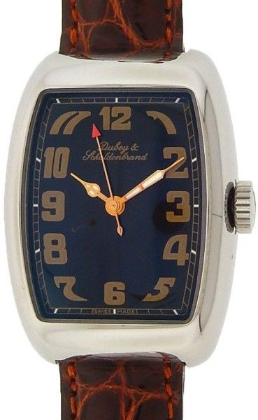 Dubey & Schaldenbrand Aquadyn Stainless Steel Brown Leather Automatic Black 27mm Mens Watch