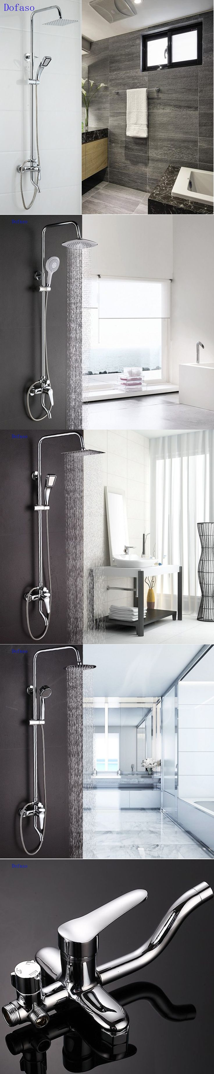 dofaso 8 inch shower chrome faucet hight Brushed stainless Rain Shower Set Tub And chrome Faucet Shower tap Shower kit System