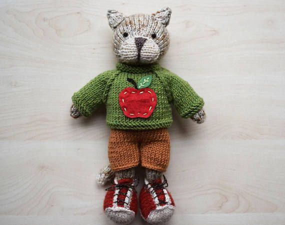 Hand Knit Cat Boy Toy Little Cotton Rabbit Soft Toy Knitted Cat Soft Toy Doll for Boys Cute Stuffed Animal Valentines Day Gift Based on a Little Cotton Rabbits Design by Julie Williams. Suitable for playing or home decor. Can be a collectible item. Made from wool and acrylic.