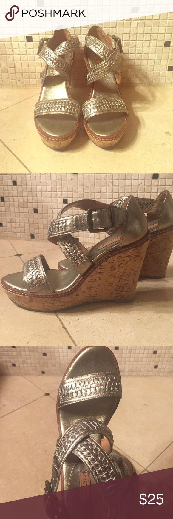 Metallic wedges These leather wedges are in great condition and so comfy! The braided strap keeps your foot secure and padded bottom allows you to last all day in these. Extra bonus that the metallic color is super neutral and goes with anything! Banana Republic Shoes Sandals