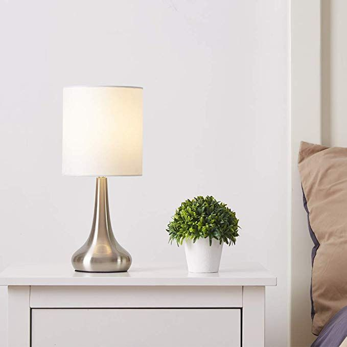 Ferwvew Modern Style Living Room Bedroom Bedside Table Lamp Bulb Not Included Desk Lamp With White Fabric Drumshade Small Table Lamps Nightstand Lam Modern Style Living Room Small Table Lamp Table Lamp