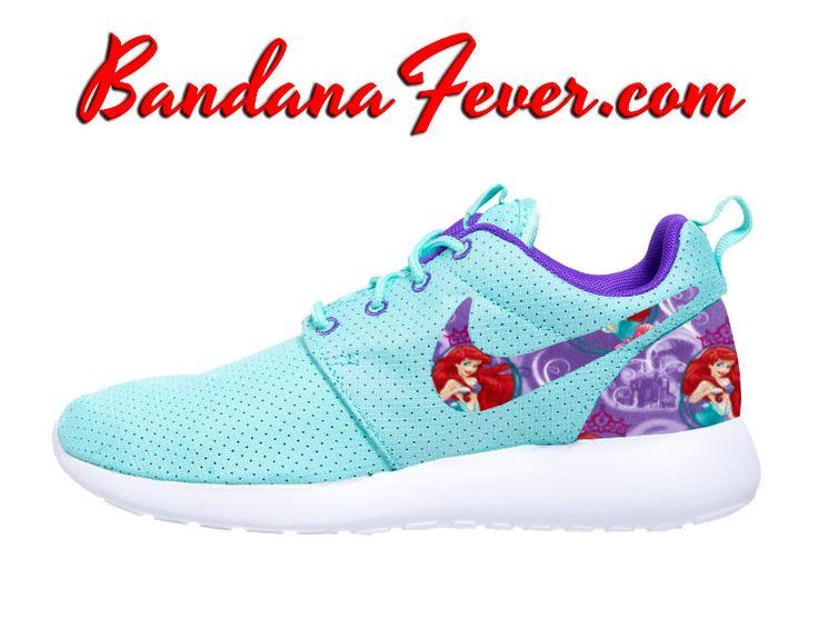 """Bandana Fever - Nike """"The Little Mermaid"""" Roshe Run Women's Hyper Turquoise/Hyper Grape by Bandana Fever, $189.99 (http://www.bandanafever.com/nike-the-little-mermaid-roshe-run-womens-hyper-turquoise-hyper-grape-by-bandana-fever/)"""