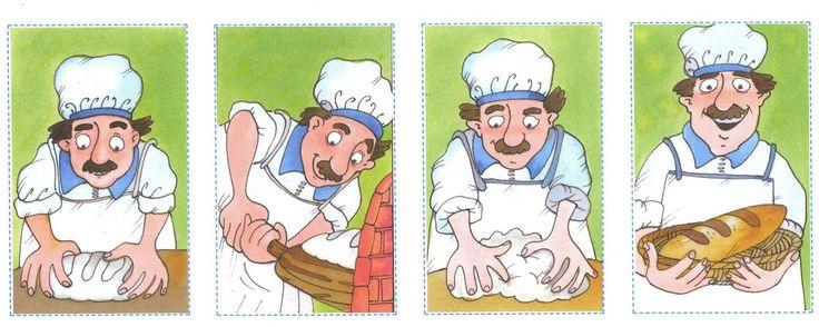 suite logique: 4 images: boulanger qui fait son pain