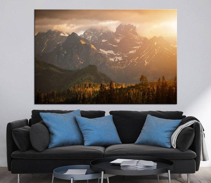 Mountains Sunset Scenery Photoprint Multi Panel Canvas Print Wild Nature  Wall Art Decoration Extra Large Print