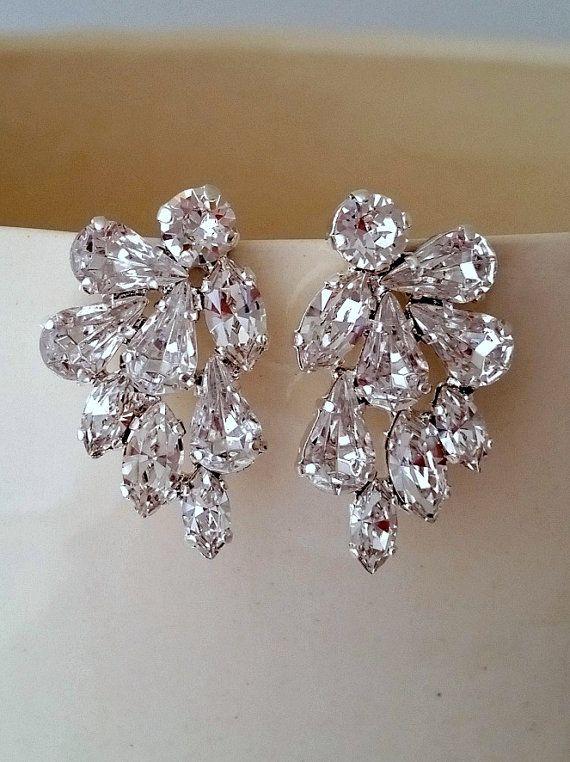 Clear crystal Statement stud earrings | Crystal bridal earrings by EldorTinaJewelry | Crystal