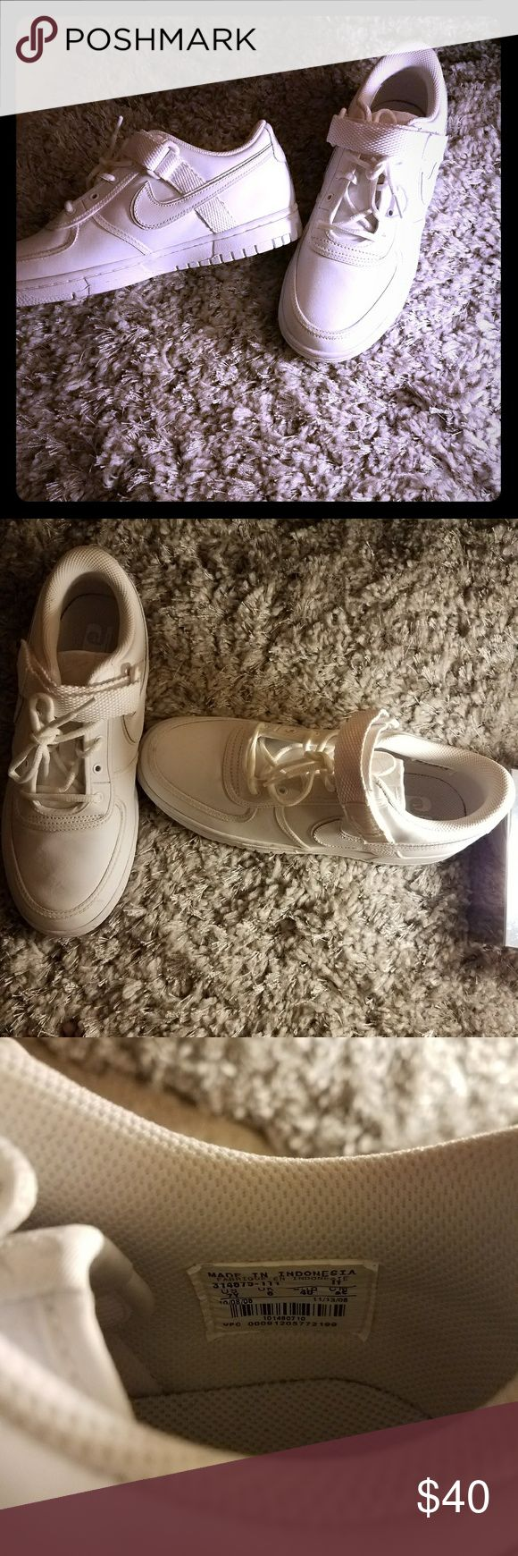 Nike casual Shoes for boys/women This all white shoe is a classic style that goes well with jeans and a t-shirt. Although they are a 7 in youth, a women with an 8.5 shoe size can fit these as well. Never worn, a few light black Marks on the soles due to packing/moving. Nike Shoes Sneakers