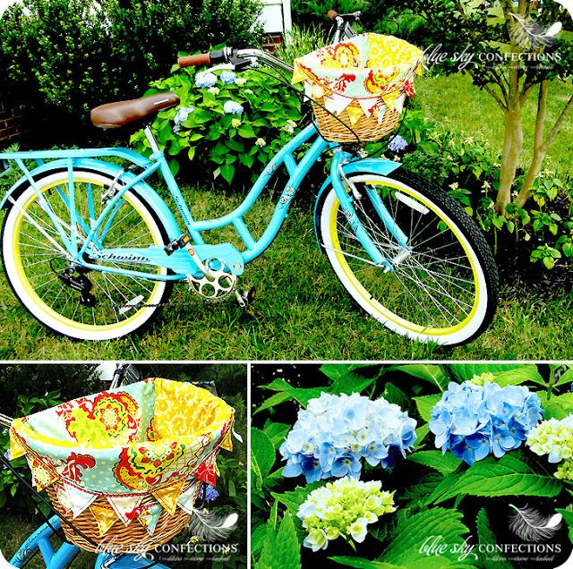Blue Sky Confections: June 2011  Lined bike basket. Don't like the pointy edges though.