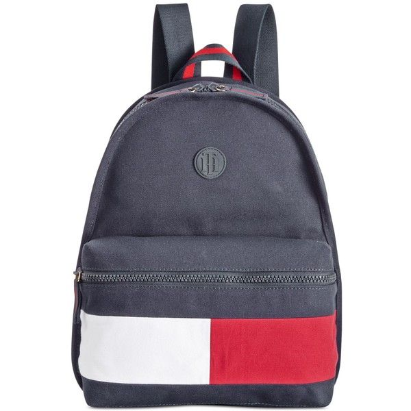 Tommy Hilfiger Colorblock Canvas Basic Backpack ($98) ❤ liked on Polyvore featuring bags, backpacks, navy, navy blue canvas backpack, navy backpack, tommy hilfiger bags, canvas knapsack and nautical bag