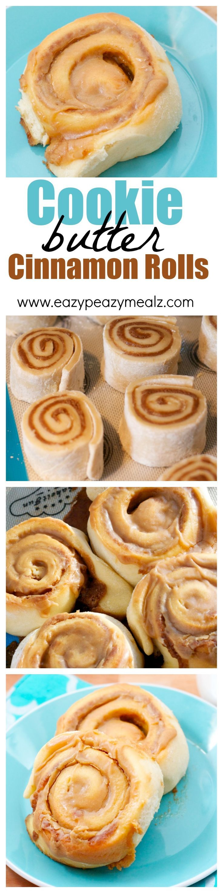 A classic light and fluffy cinnamon roll with a cookie butter filling and cookie butter frosting. It is almost too good. #ad -Eazy Peazy Mealz