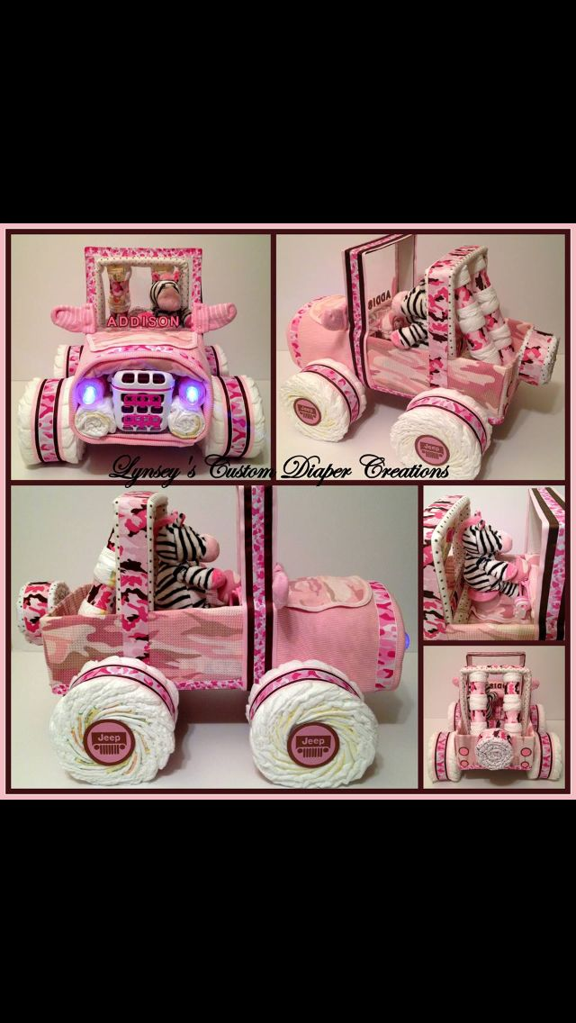 Jeep diaper cake! BABY GIRL