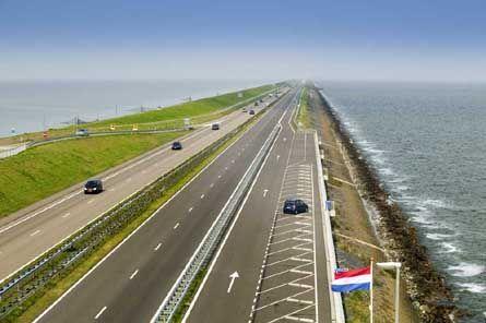 Afsluitdijk, 33 km long dike between the county North-Holland and Friesland