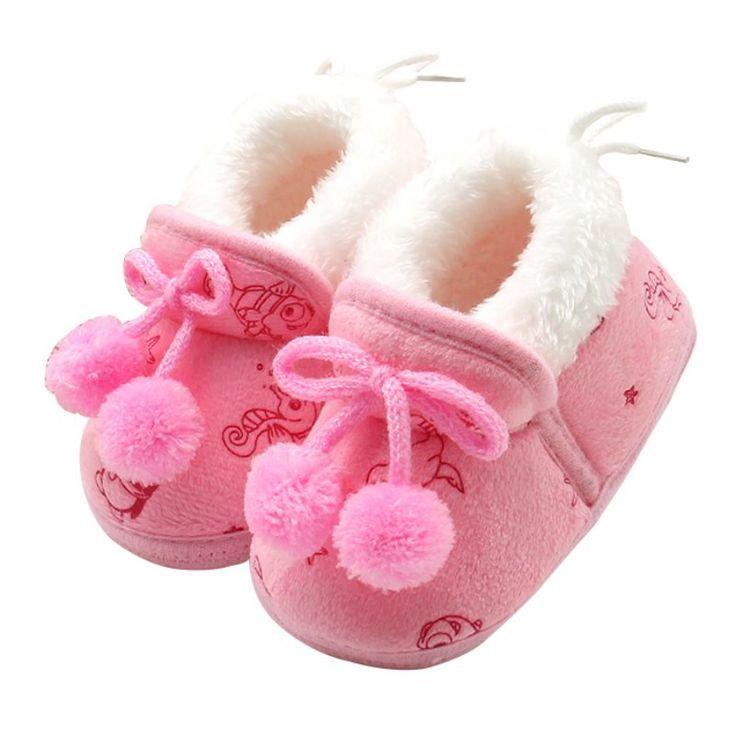 3 색 달콤한 신생아 여자 아기 공주 Bowknot 겨울 따뜻한 먼저 워커 부드러운 밑창 유아 유아 아이 소녀 Cack 신발
