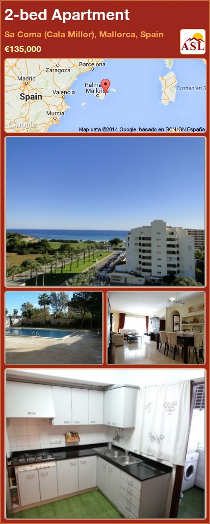 2-bed Apartment in Sa Coma (Cala Millor), Mallorca, Spain ►€135,000 #PropertyForSaleInSpain