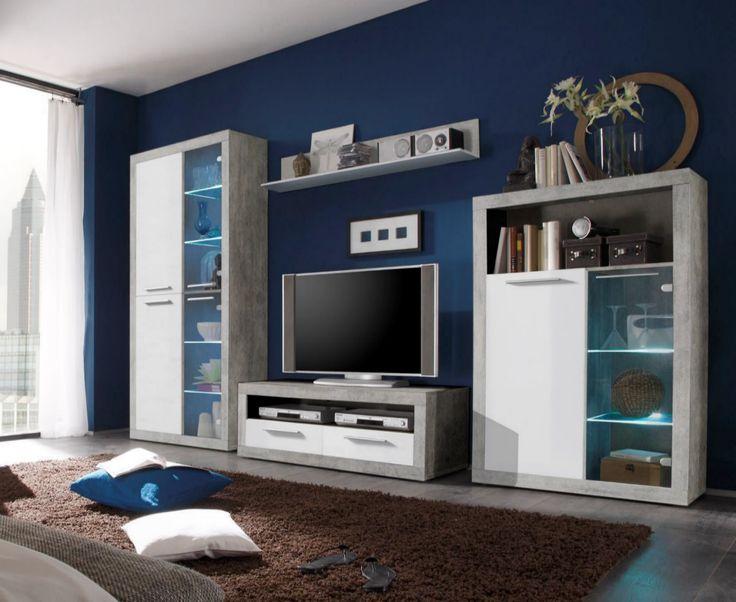 Wohnwand Grau Weiss Mit Beleuchtung Woody 61 00150 Holz Modern Jetzt Bestellen Unter
