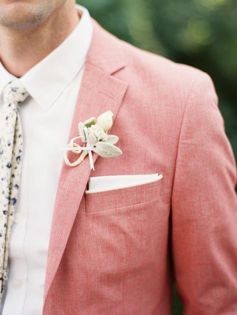 Pink linen jacket.