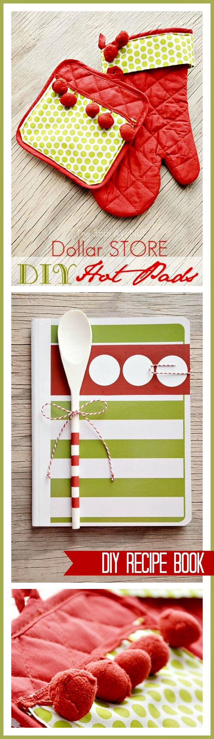 Super cute DIY Christmas Gift Idea... Make these Hot Pads and Recipe Book for around $5! Tutorials at the36thavenue.com