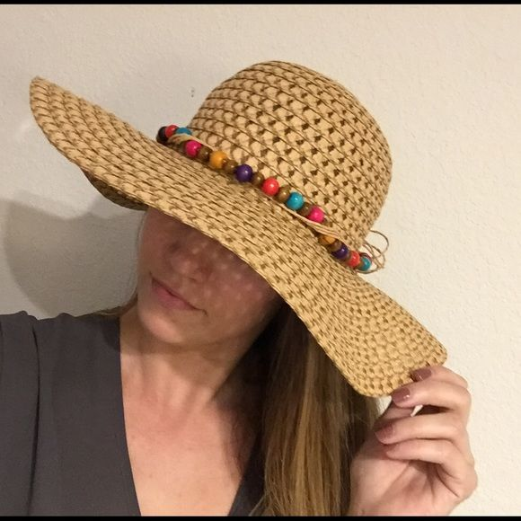 Beaded floppy summer hat Fun floppy summer hat with beaded detail and tie. Perfect condition and great for beach or summer outfit. Accessories Hats