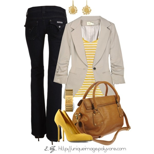 """Pop of Yellow"": Yellow Pumps, Colors Combos, Casual Friday, Yellow Stripes, Dreams Closet, Father Day, Cute Outfits, Black Jeans, Spring Outfits"