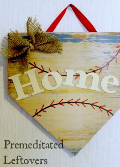 Celebrate baseball in your home with a creative DIY home plate plaque. | easy home decor